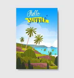 hello summer landscape palm tree beach badge vector image