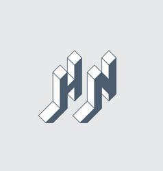 Hn - logo or 2-letter code isometric 3d font for vector