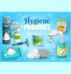 Hygiene products man and woman personal care vector