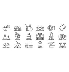 Irrigation system icons set outline style vector