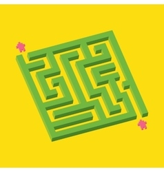 Isometric green maze in pixel art style vector image