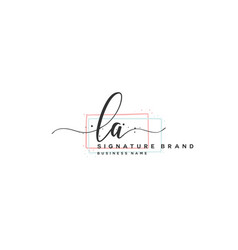 L a initial letter handwriting and signature logo vector