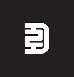 letter d and number 2 logo design minimalistic vector image