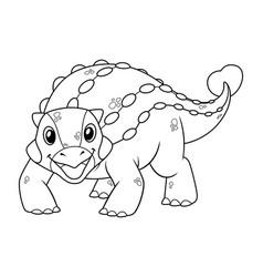 little ankylosaurus cartoon bw vector image