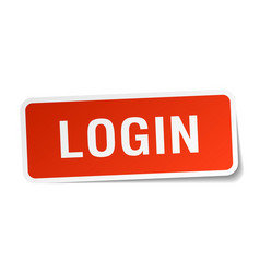 Login red square sticker isolated on white vector