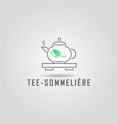 Logo design tea shop template vector