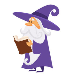 Magician or wizard with book spell or charm vector