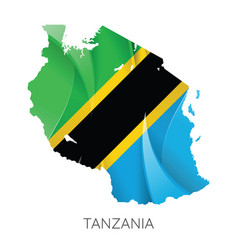map tanzania with national flag vector image