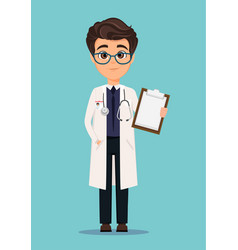 medical doctor in white coat and glasses holding vector image