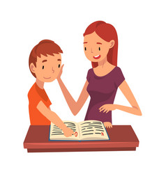 Mother teaching her son mom helping boy vector