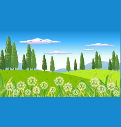 Nature scene background with flowers in garden vector
