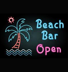 Neon light with word beach bar open vector