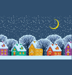 night winter landscape with colored country houses vector image