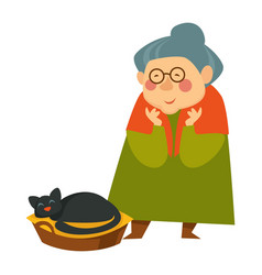 Old woman senior person looking at sleeping cat vector