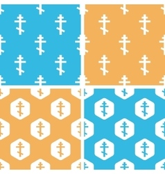 Orthodox cross pattern set colored vector