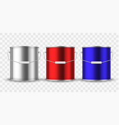 paint steel can silver bucket metal cans package vector image