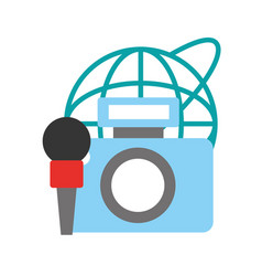Photographic camera microphone world broadcast vector