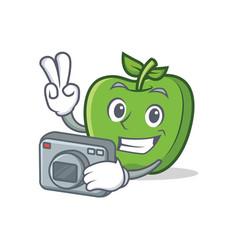 photography green apple character cartoon vector image