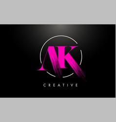 Pink ak brush stroke letter logo design vector