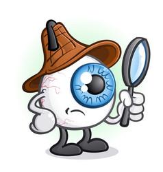 Private eye ball detective cartoon character vector