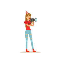 Professional girl photographer taking pictures vector