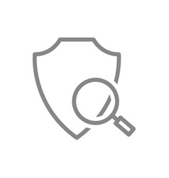 Protective shield with magnifying glass line icon vector