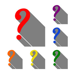 question mark sign set of red orange yellow vector image