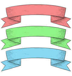 ribbon banner vintage colored set hand drawn vector image