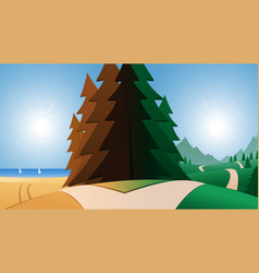 Road and beach or mountains destination vector