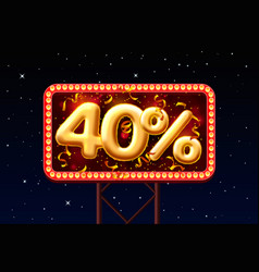 sale 40 off ballon number on night sky vector image
