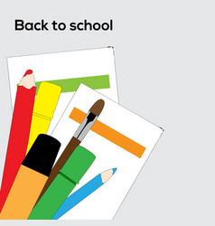 School supplies pencils brush and markers vector