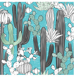 seamless pattern with cactus wild cacti forest vector image