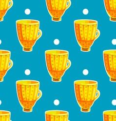 Seamless pattern with cartoon mugs-3 vector image