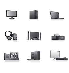 set of computer and electronics devices icons vector image vector image