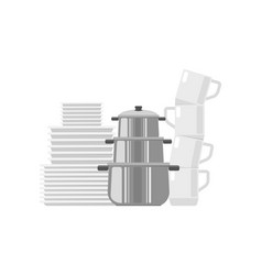 set of dishes icon vector image