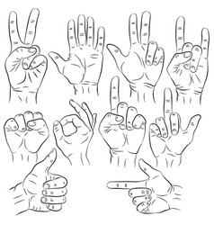 Set of hands in different gestures emotions and vector