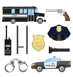 Set of police objects vector image