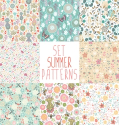 Set seamless floral backgrounds vector