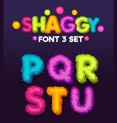 Shaggy font 3 set vector
