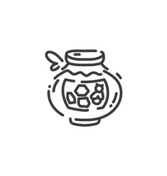 simple flat line art icon clay pot with honey vector image