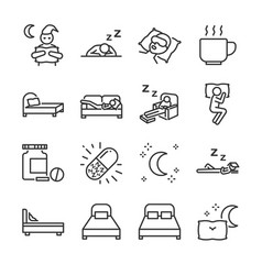 Sleep line icon set vector