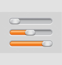 sliders gray orange control level buttons vector image