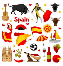 Spain icons set spanish traditional symbols and vector