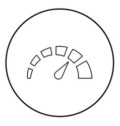 speedometer icon black color in circle round vector image