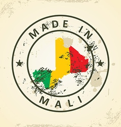 Stamp with map flag of Mali vector image