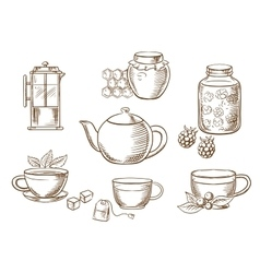 Tea icons with jam honey cups and teapots vector