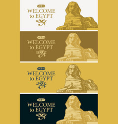 Travel banners with hand-drawn egyptian sphinx vector