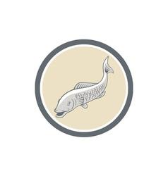 Trout Swimming Cartoon Circle vector