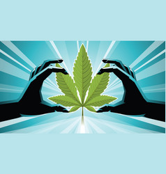 two hands holding on cannabis vector image
