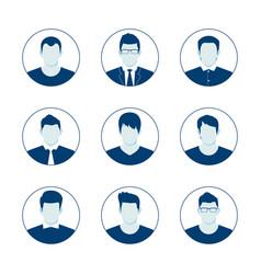 user account avatar blue man icon set vector image